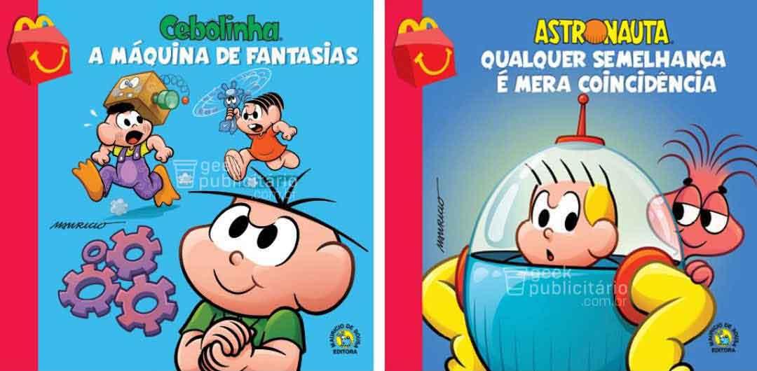 cebolinha astronauta novos livros turma da monica mclanche feliz mcdonalds 2019 - McLanche Feliz trará coleção de livros da Turma da Mônica no Brasil, em vez de brinquedos!