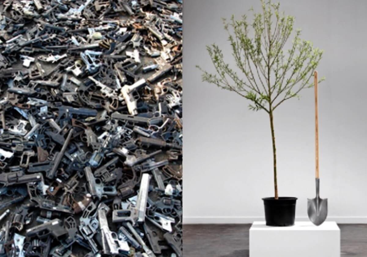 arvores armas - Armas derretidas viram pás para plantar árvores nas mãos de artista!