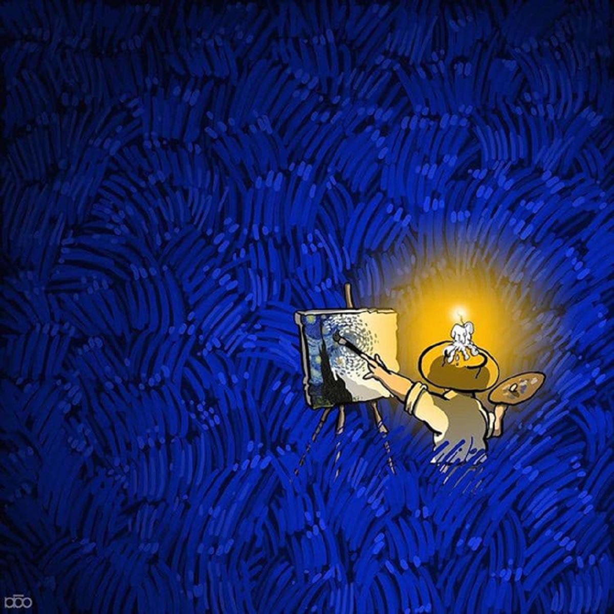 Karimi Van Gogh 05 - Ilustrador Iraniano desenhou a vida de Van Gogh em lindos quadrinhos