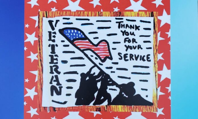 veterans lift flag Iwo Jima artwork by flags of gratitude 696x419 1 - Uma artista de 11 anos está espalhando gentileza pelas ruas de Nova Jersey, para veteranos e profissionais de saúde.